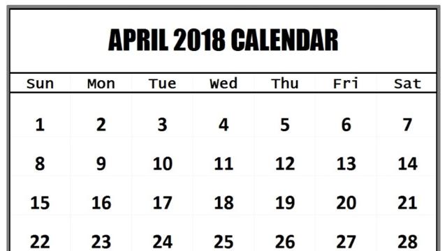 2018 april calendar printable template
