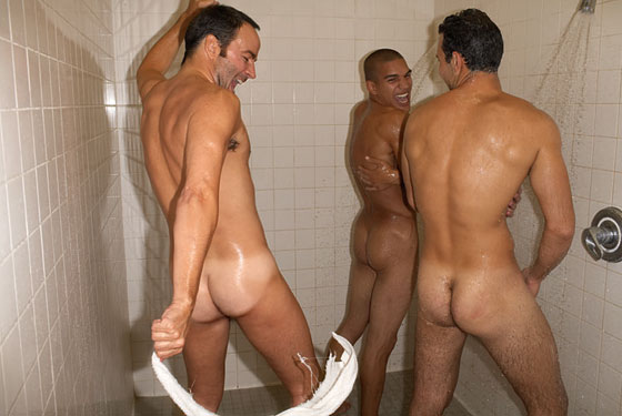 Naked gay men in gym