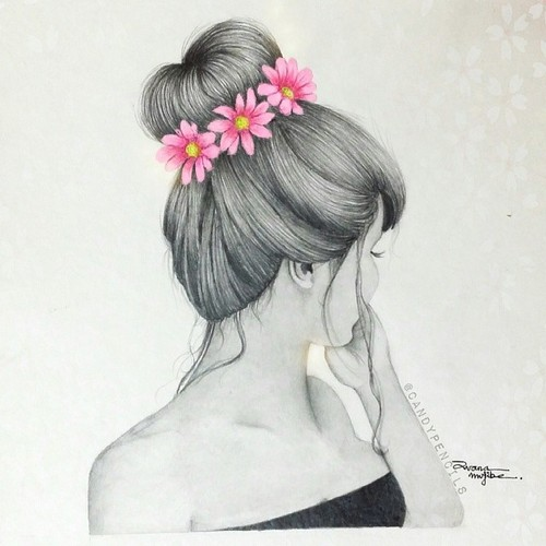 Girl with flower crown drawing - photo#8