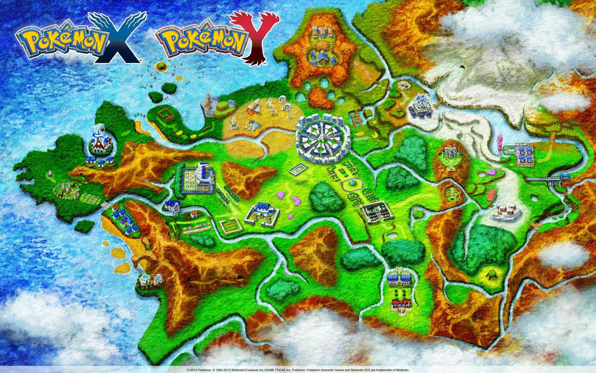 Detailed Kalos map with route/town/interest points overlays