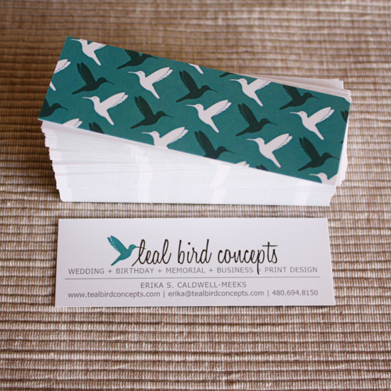 teal bird concepts mini business cards - Mini Business Cards