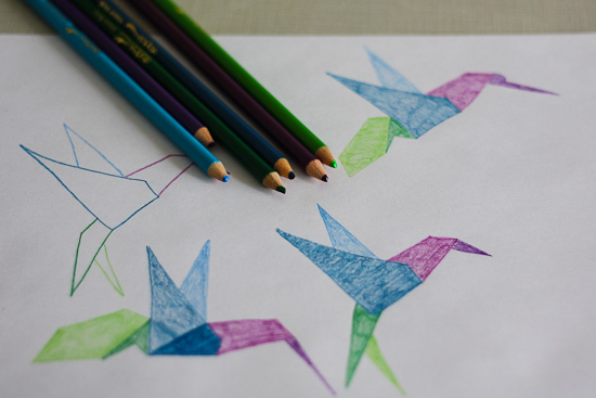 Origami Bird Drawing Teal Concepts
