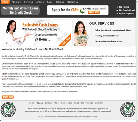 Monthly Installment Loans No Credit Check