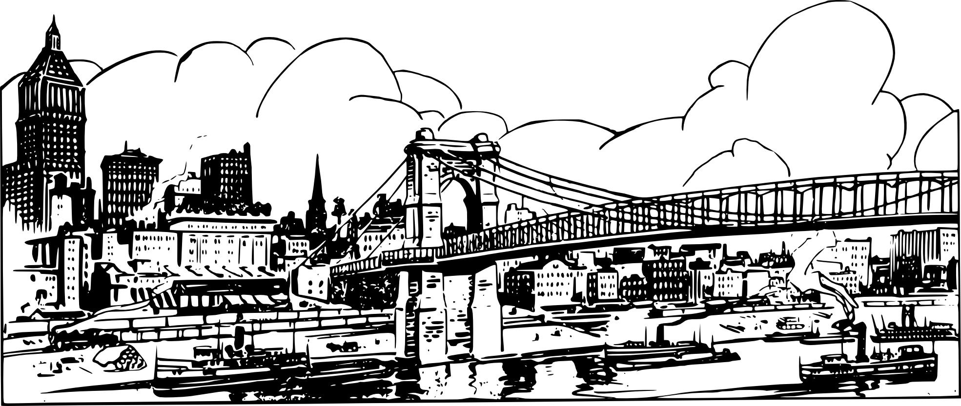 Line Art City : New york skyline outline coloring pages