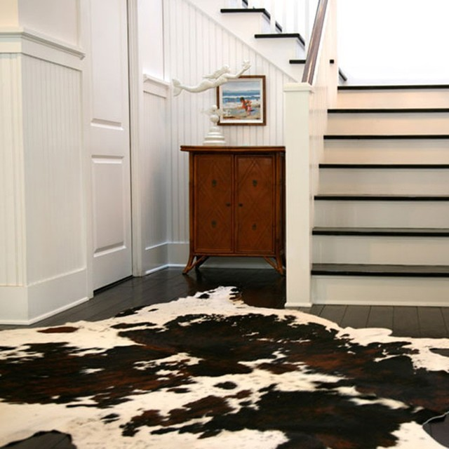 Hand Crafted Light Brindle Jersey Leather Cowhide Rug Dimension