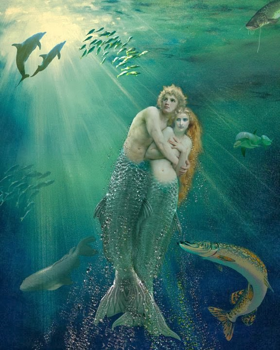 Sexy mermen and mermaids