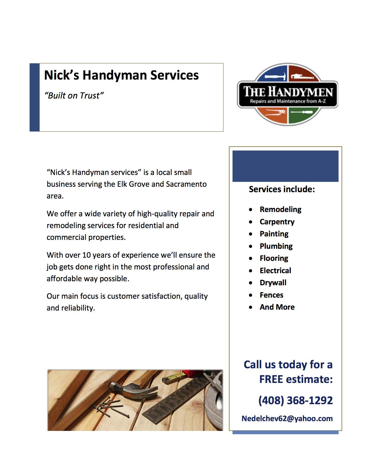A Sample Handyman Business Plan Template
