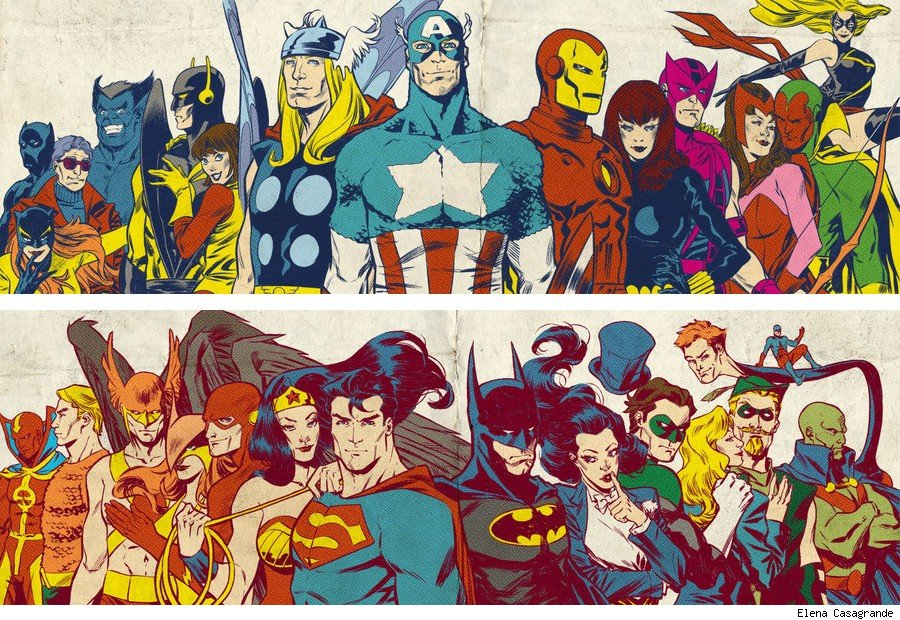 The Avengers vs. Justice League (avengers-confessions/tumblr)