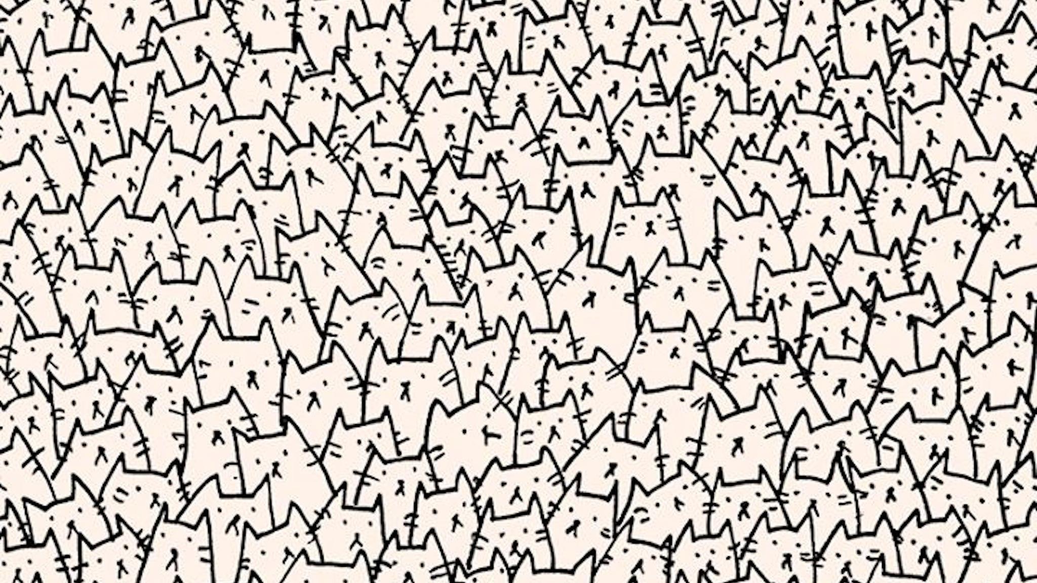 картинка много котиков черно белая звери чаще