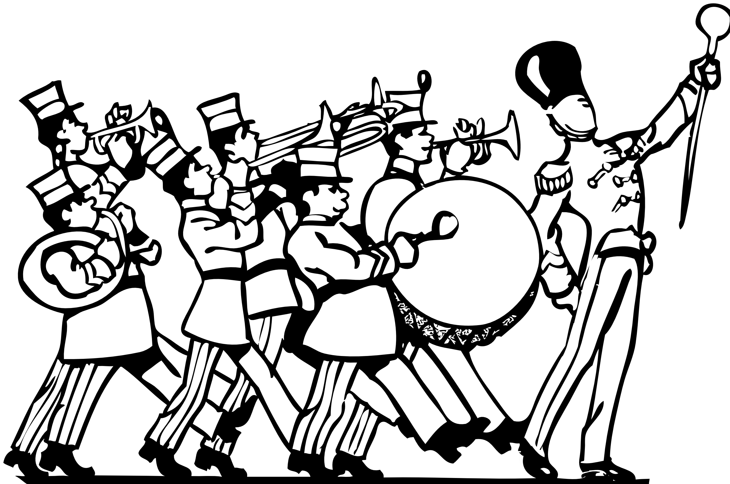 Cartoon Marching Band Marching Band Instruments