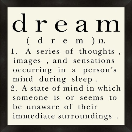 a definition of dreams Here is my definition of a dream that can be put to the test and will pass: a dream is an inspiring picture of the future that energizes your mind, will and emotions, empowering you to do .