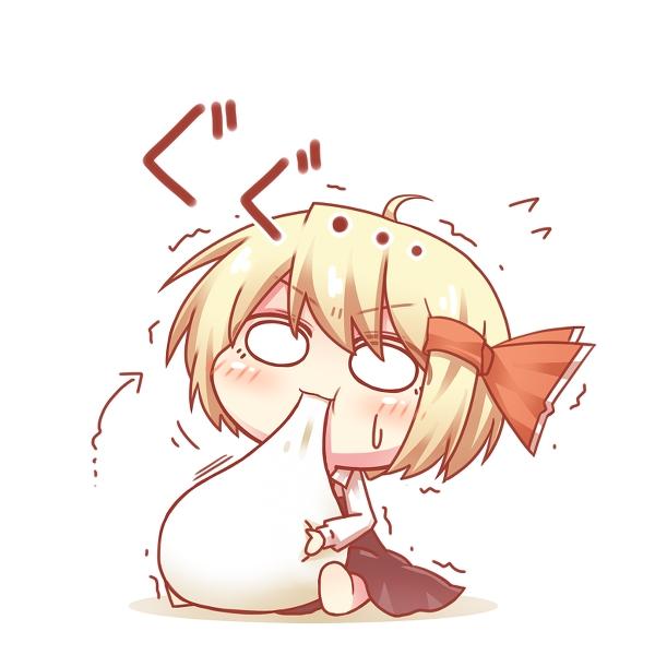 Anime chibi girl eating