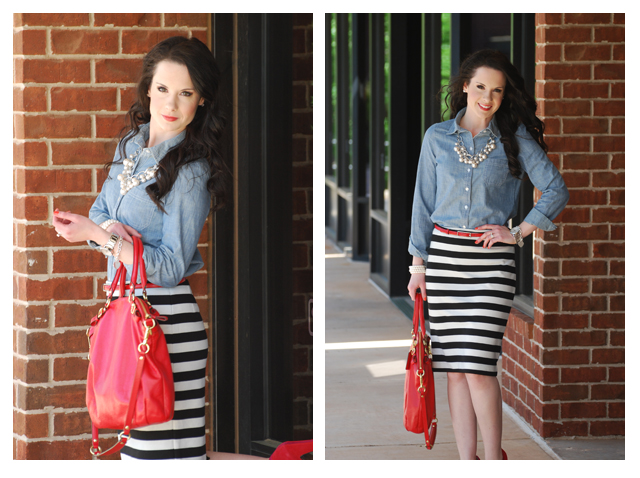 61a46cc08ca8 L and the stripe skirt.... - The Double Take Girls