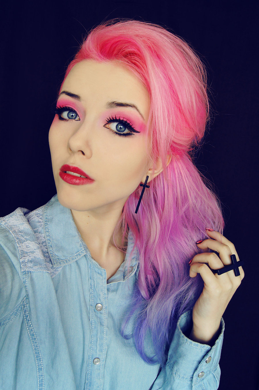 Ombre Hair Tumblr Blue And Pink Scene Hair