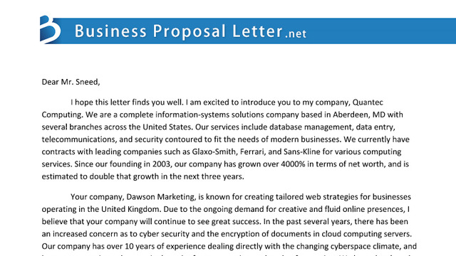 proposal letter – A Business Proposal Letter