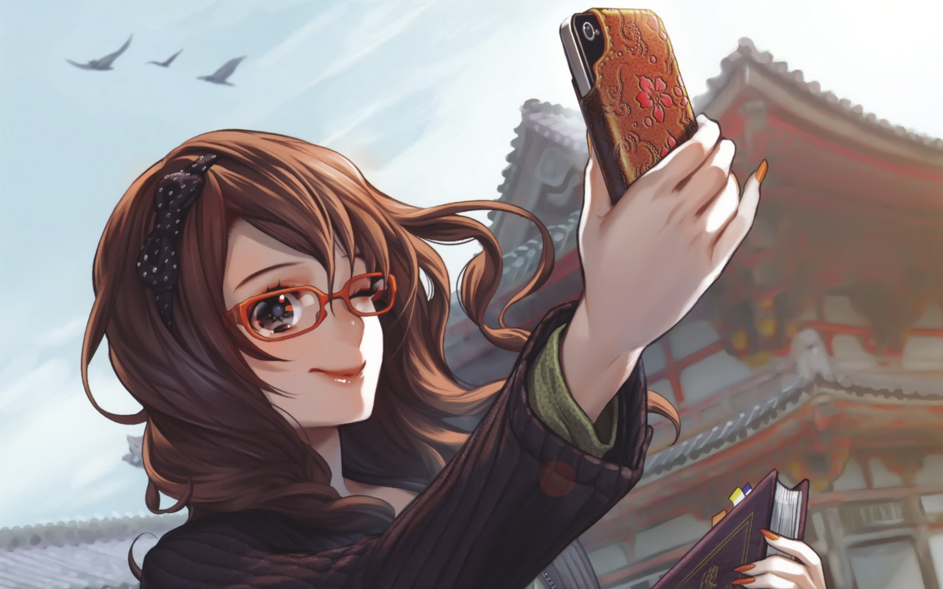 Tumblr drawings girl with glasses xxgasm - Anime girl on phone ...