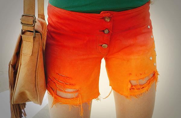diy short degradê laranja
