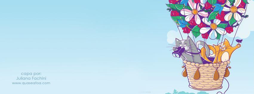 capa facebook fofa gatinhos balão desenho