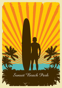 Sunset Beach Park - Retro Surf Art Poster
