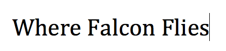 Where Falcon Flies