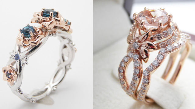 camellia jewelry unique engagement ring morganite ring - Wedding Rings Tumblr
