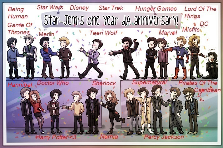 harry potter doctor who sherlock supernatural star trek star wars ...
