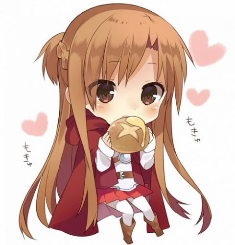 Anime chibi girl eating