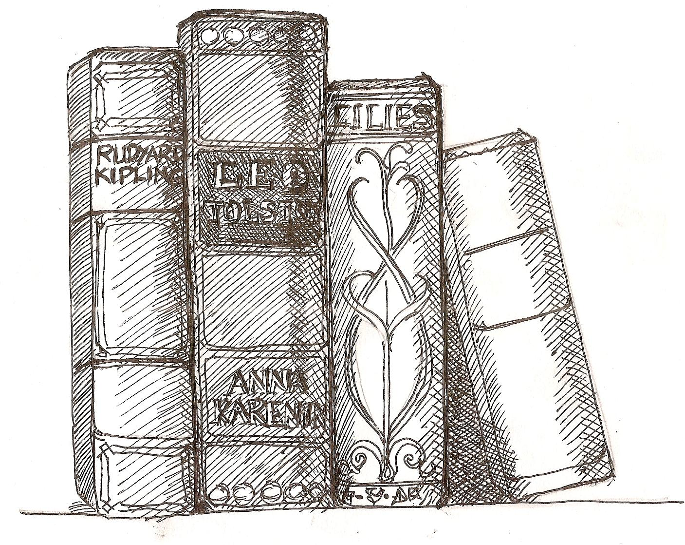 book-stack.jpg 2,676×2,538 pixels | Pencil sketches ...