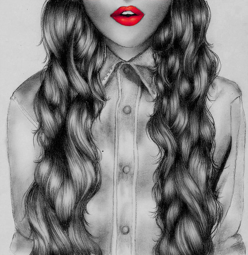 Hipster Girl Hair Drawing Tumblr