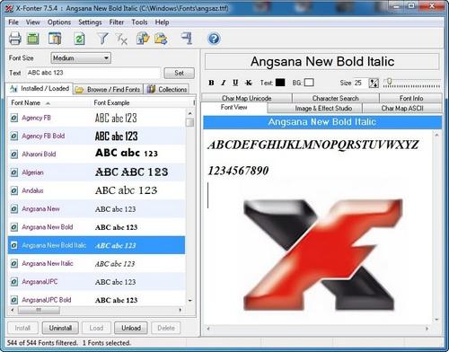 برنامج X-Fonter |مستعرض الخطوط قبل التثبيت
