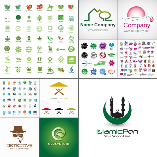 2 مجموعة شعارات متنوعة جاهزة بصيغة EPS
