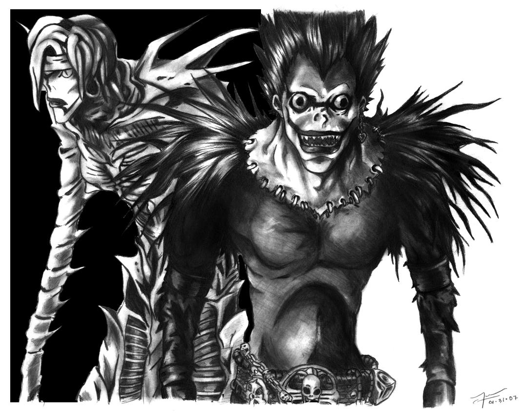 Os Shinigamis, REM (que segue Misa) e Ryuk (que segue Light/Raito/Kira ...