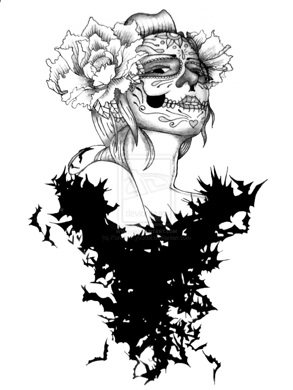 Black And White Skull Sleeve Tattoos Black And White Sugar Skull
