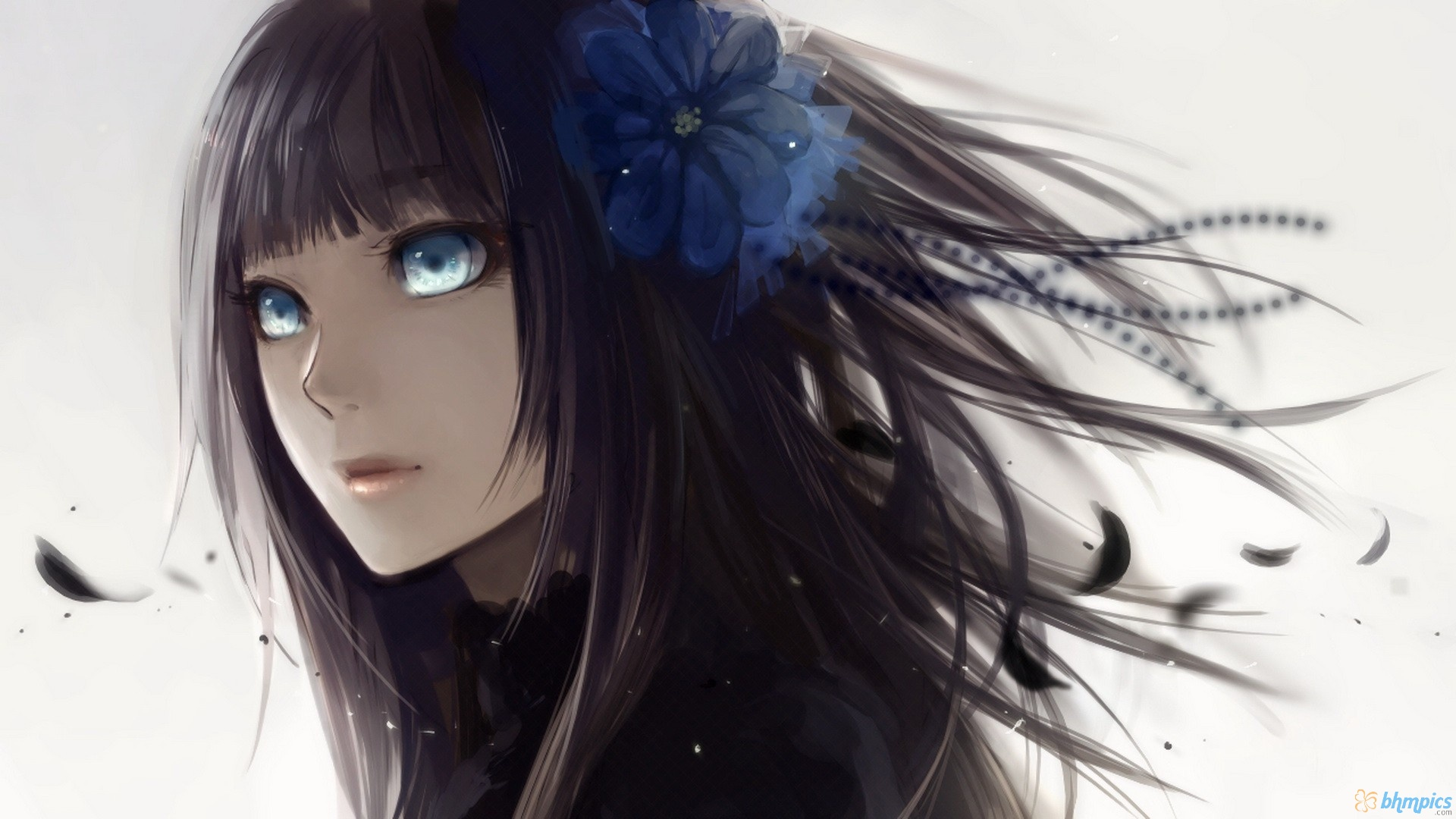 Tumblr static anime girl with black hair and blue eyes 1920x1080