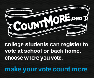 College students can register to vote at school or back home.  Countmore.org helps you decide where to vote.