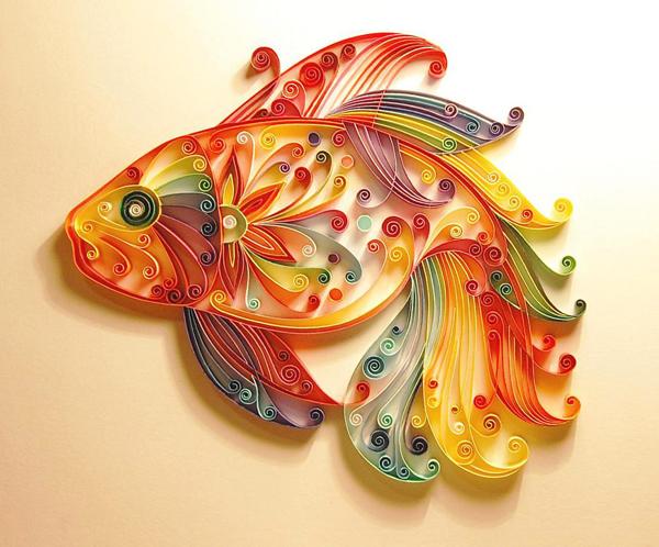 técnica quilling peixe