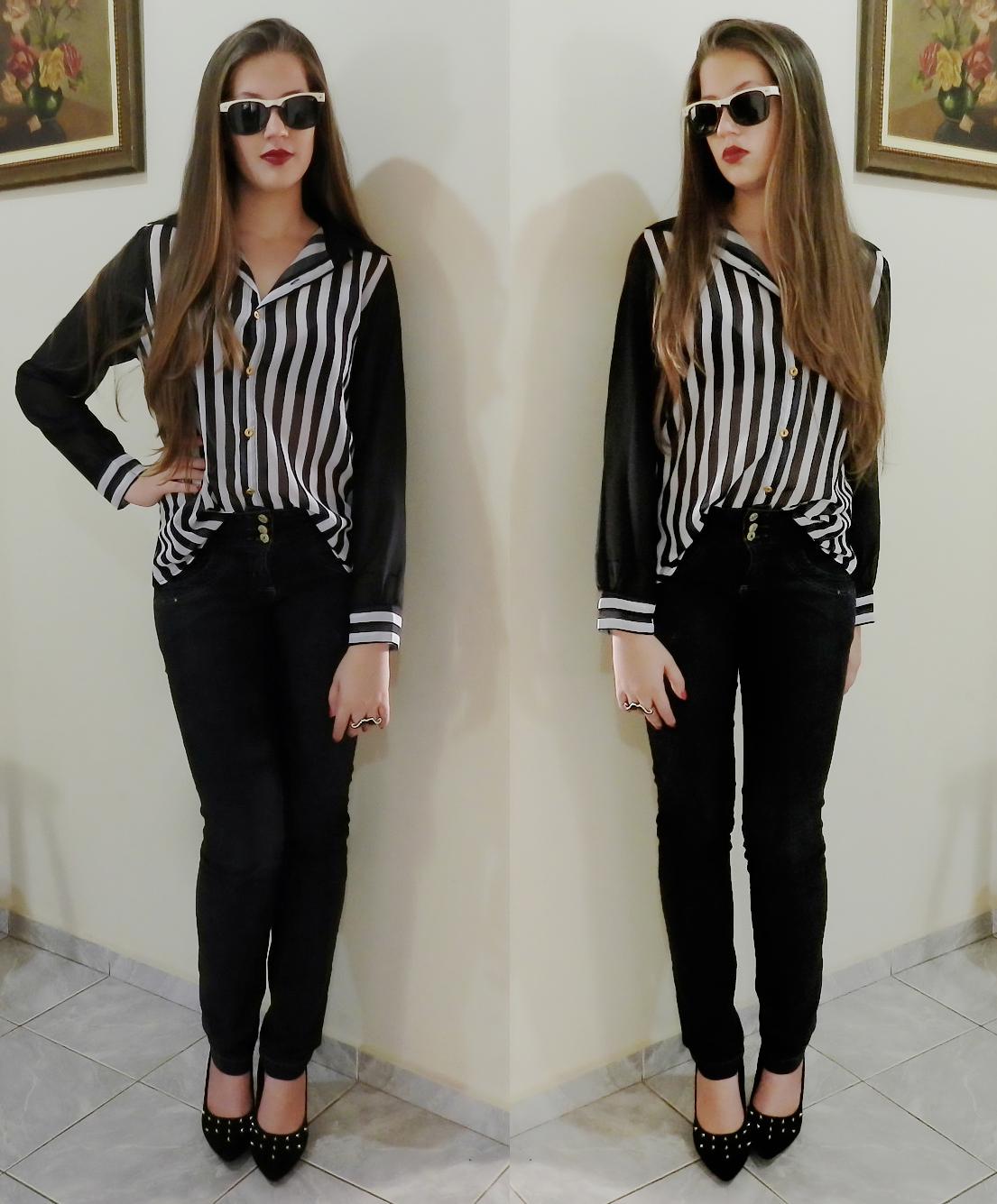 look camisa listrada preto e branco