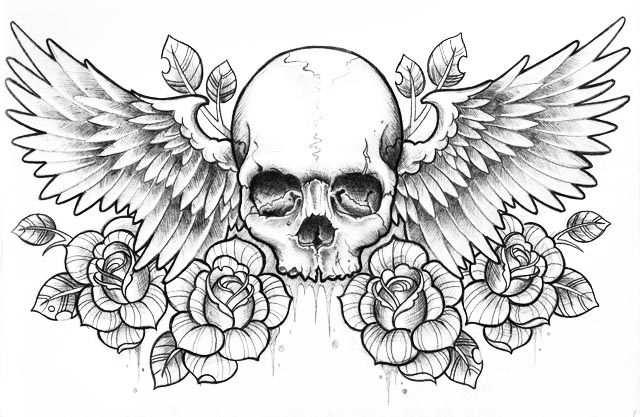 Skull, Skulls And Roses And