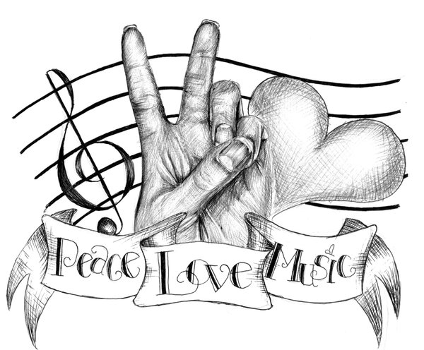 peace tattoo. Music, Love, and Peace Tattoo