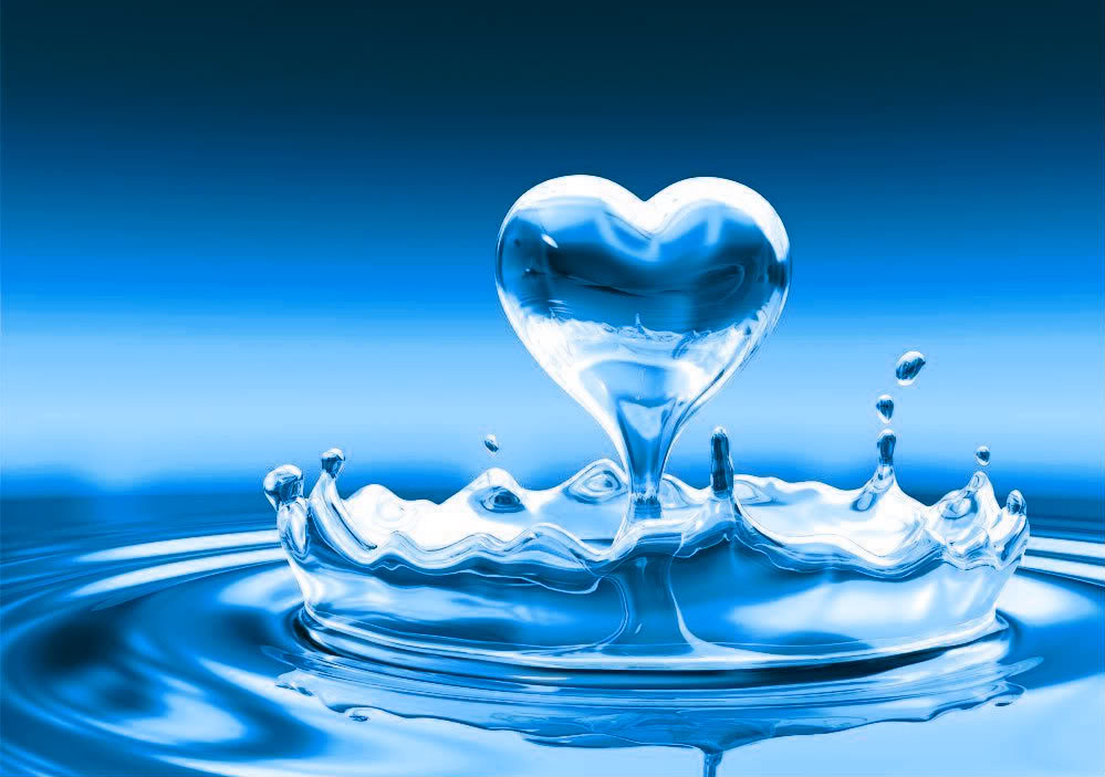blue heart in water