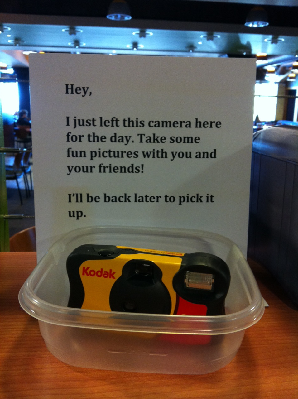One of the disposable cameras distributed on campus