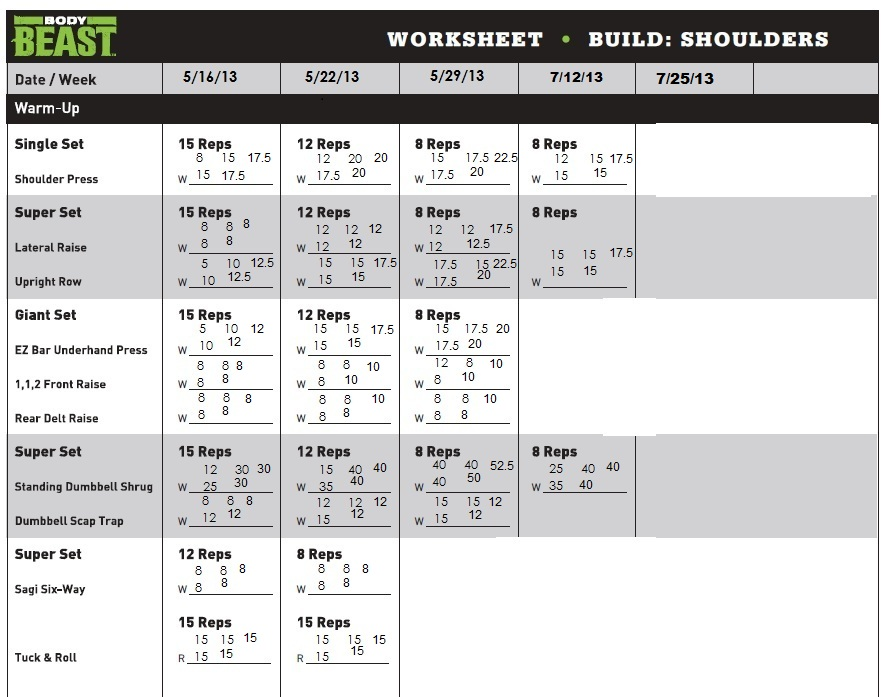 Body Beast Workout Sheets Abs | Av Workout