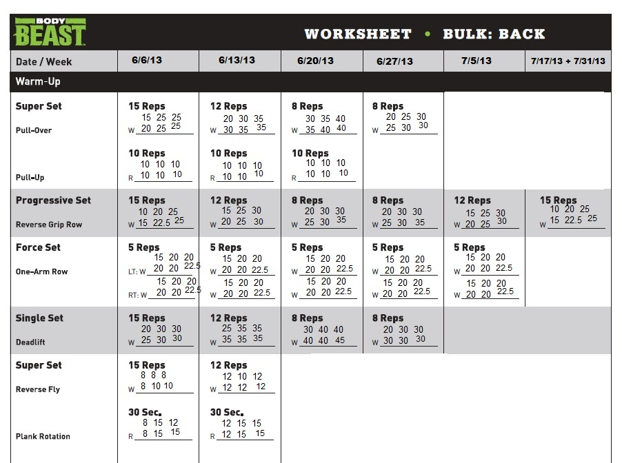 Body Beast Bulk Back Workout Sheet | Av Workout