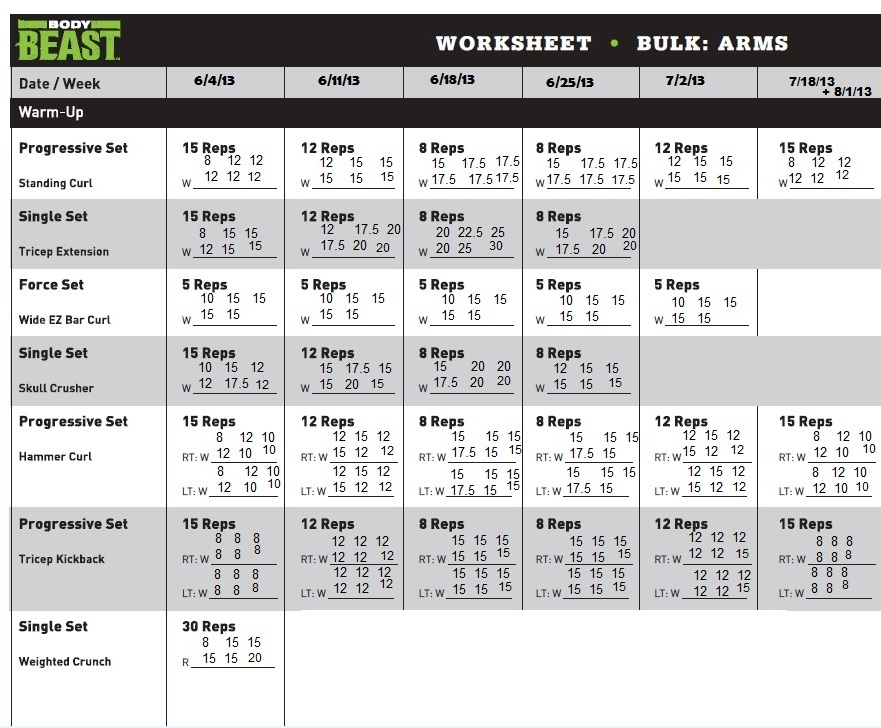 My Body Beast Journey – Workout Worksheet