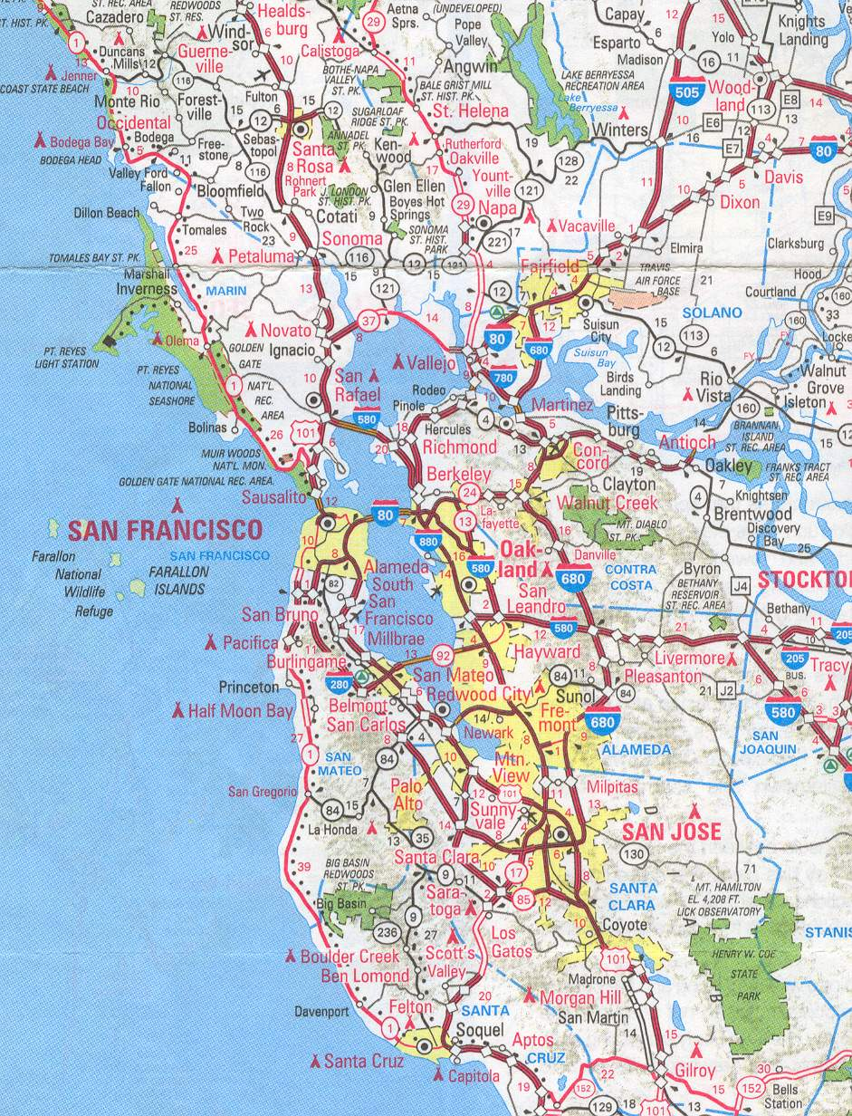 . sanfrancisco bay area and california maps  english  me