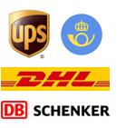 Leveranser sker med Posten, DHL, UPS och Schenker